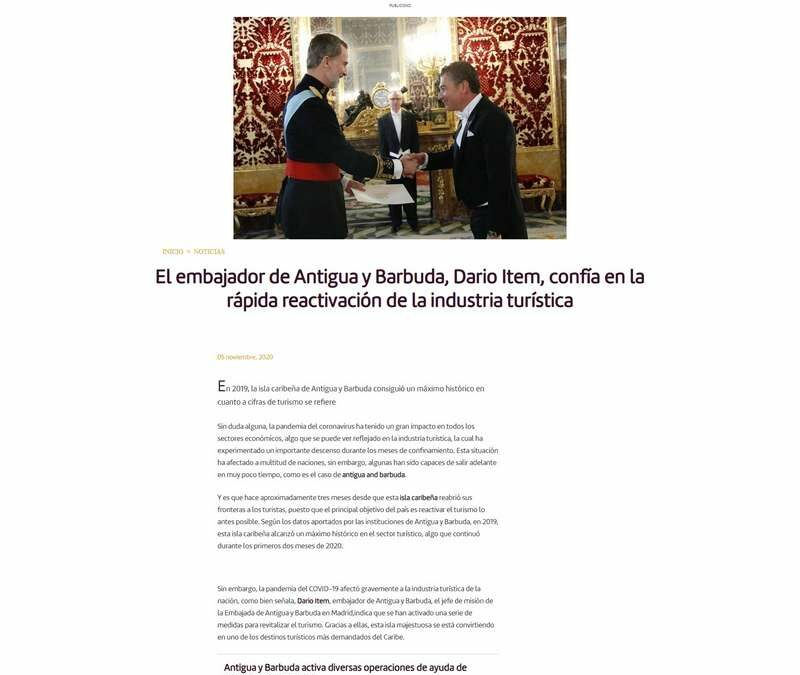El embajador de Antigua y Barbuda, Dario Item, confía en la rápida reactivación de la industria turística