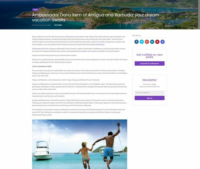 Ambassador Dario Item of Antigua and Barbuda: your dream vacation awaits