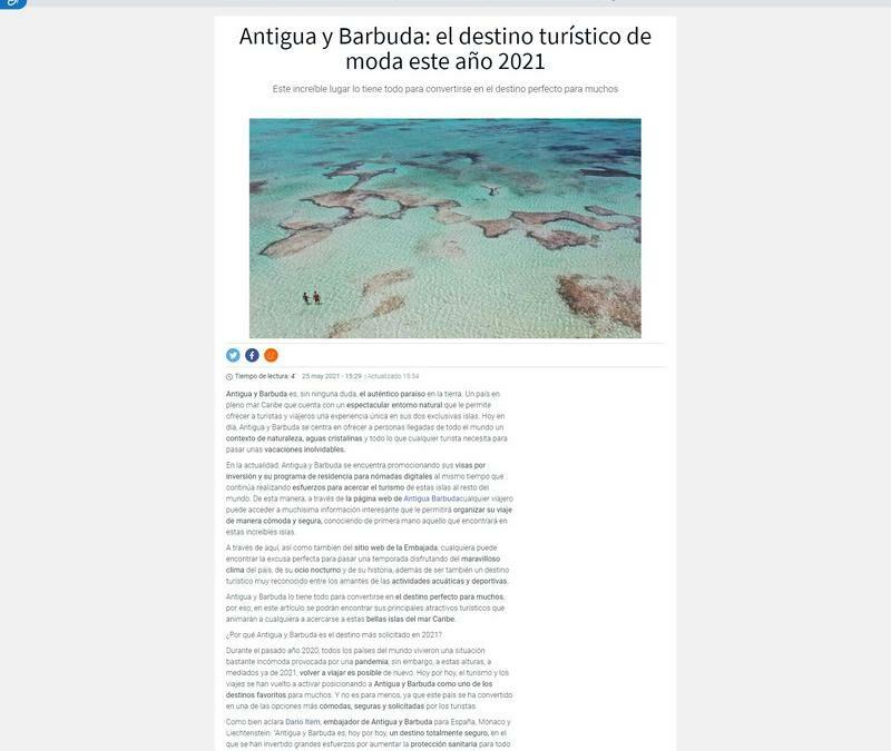 Antigua y Barbuda: el destino turístico de moda este año 2021